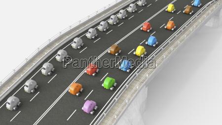 toy car traffic on motorway 3d