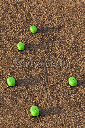 five agricultural robots on soil