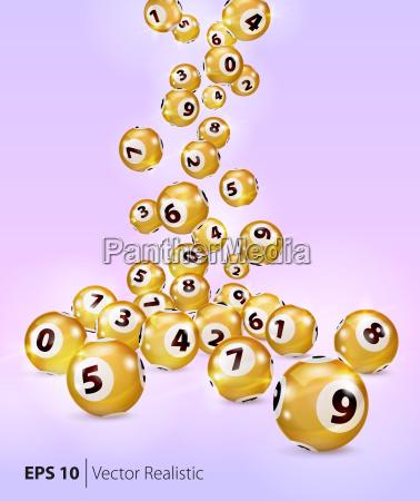 vector golden bingo balls fall randomly