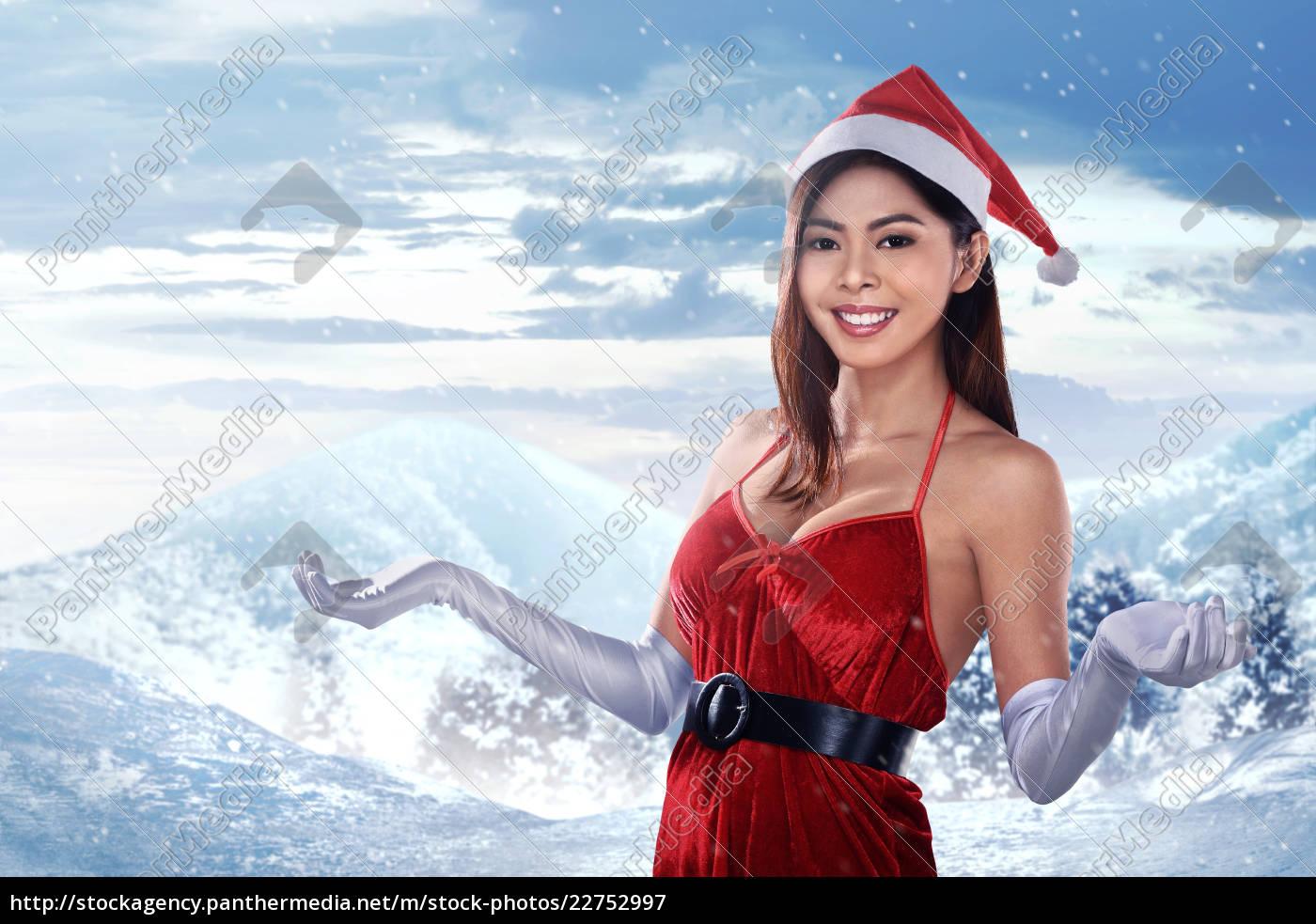 pretty, asian, girl, in, santa, dress - 22752997