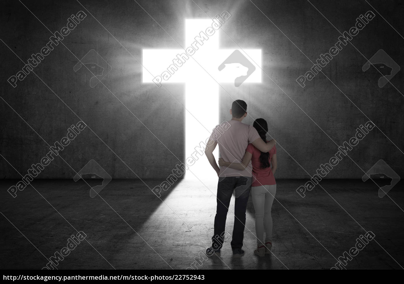 young, couple, looking, the, shining, cross - 22752943