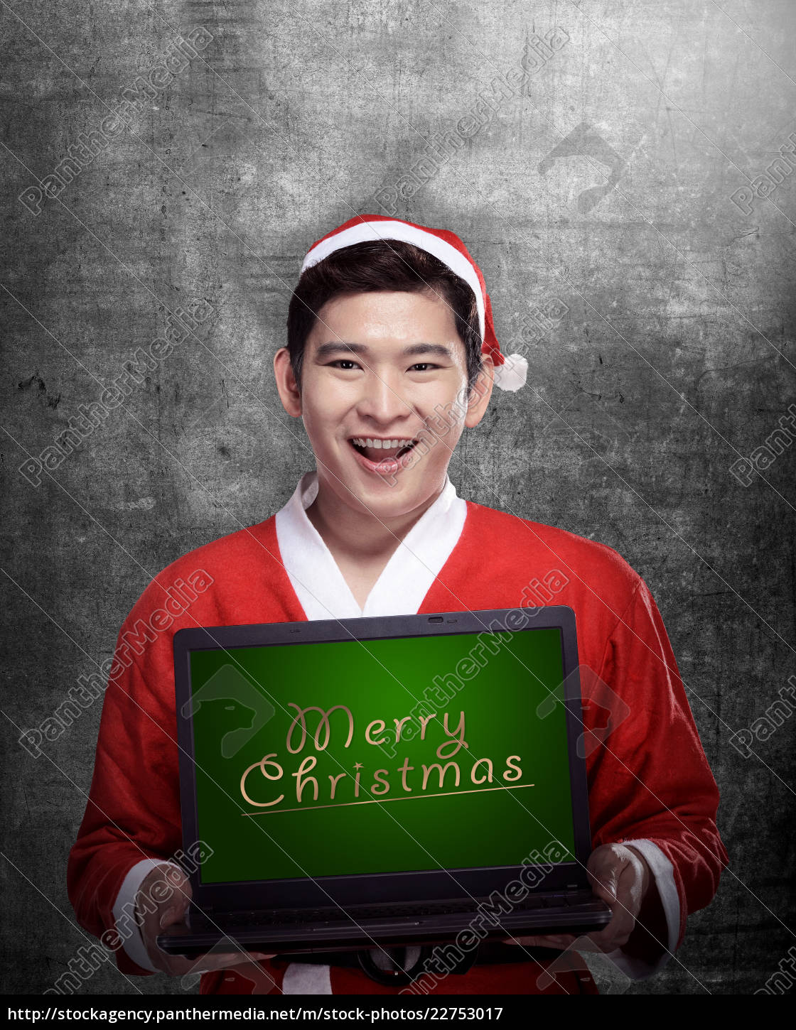 santa, claus, holding, laptop, with, merry - 22753017