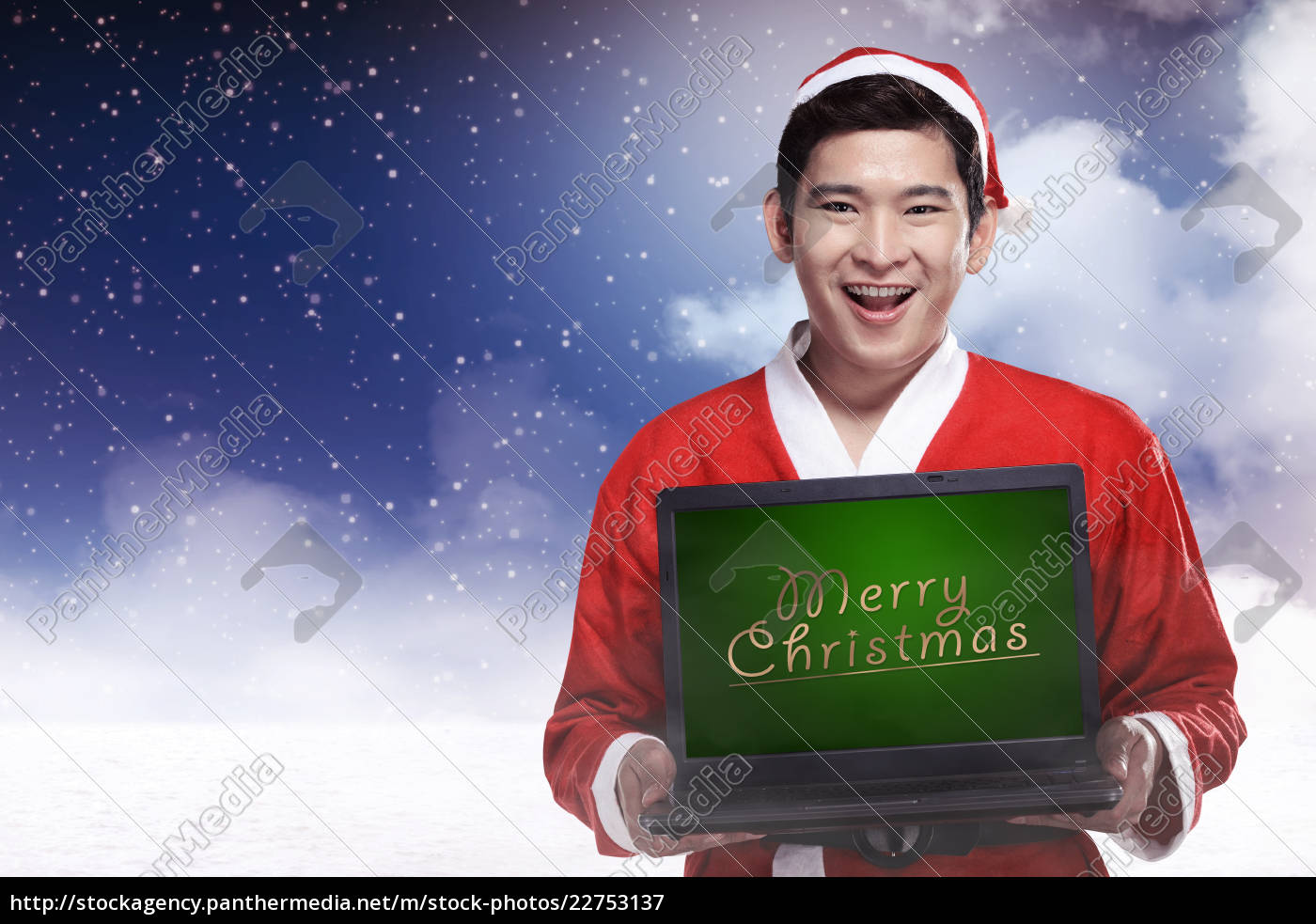 santa, claus, holding, laptop, with, merry - 22753137
