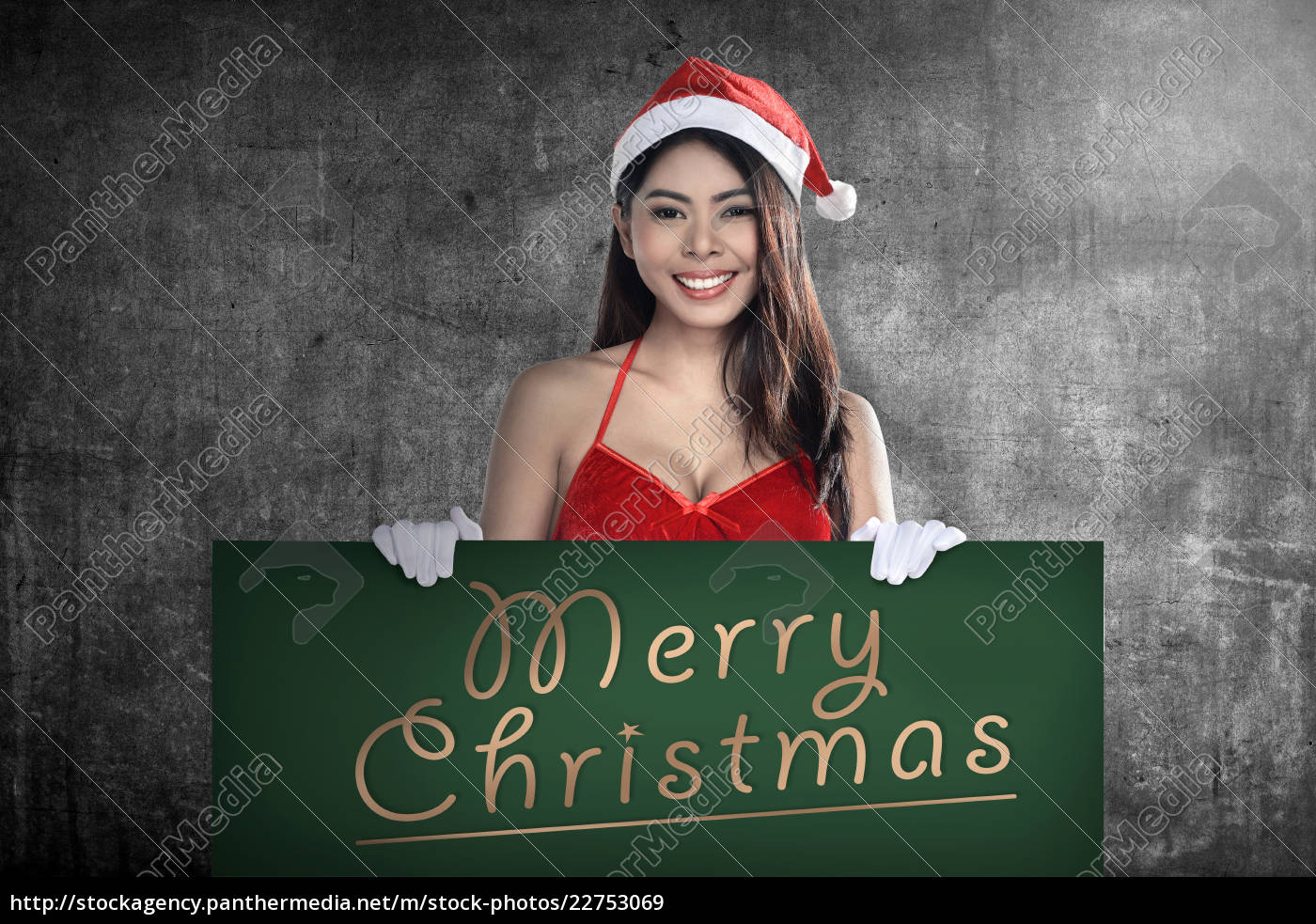 santa, woman, holding, merry, christmas, board - 22753069