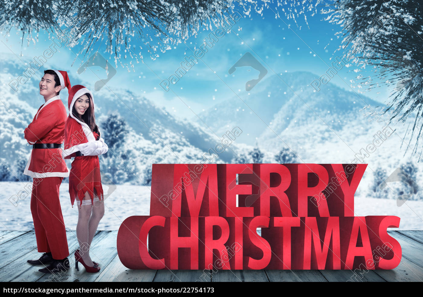 asian, couple, in, santa, claus, costume - 22754173