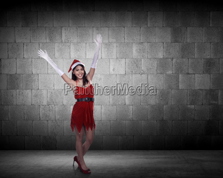 asian, woman, in, santa, claus, costume - 22754525