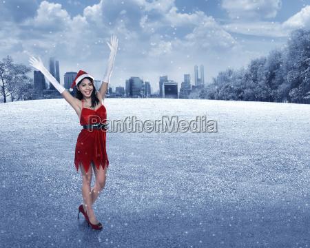 asian, woman, in, santa, claus, costume - 22754527