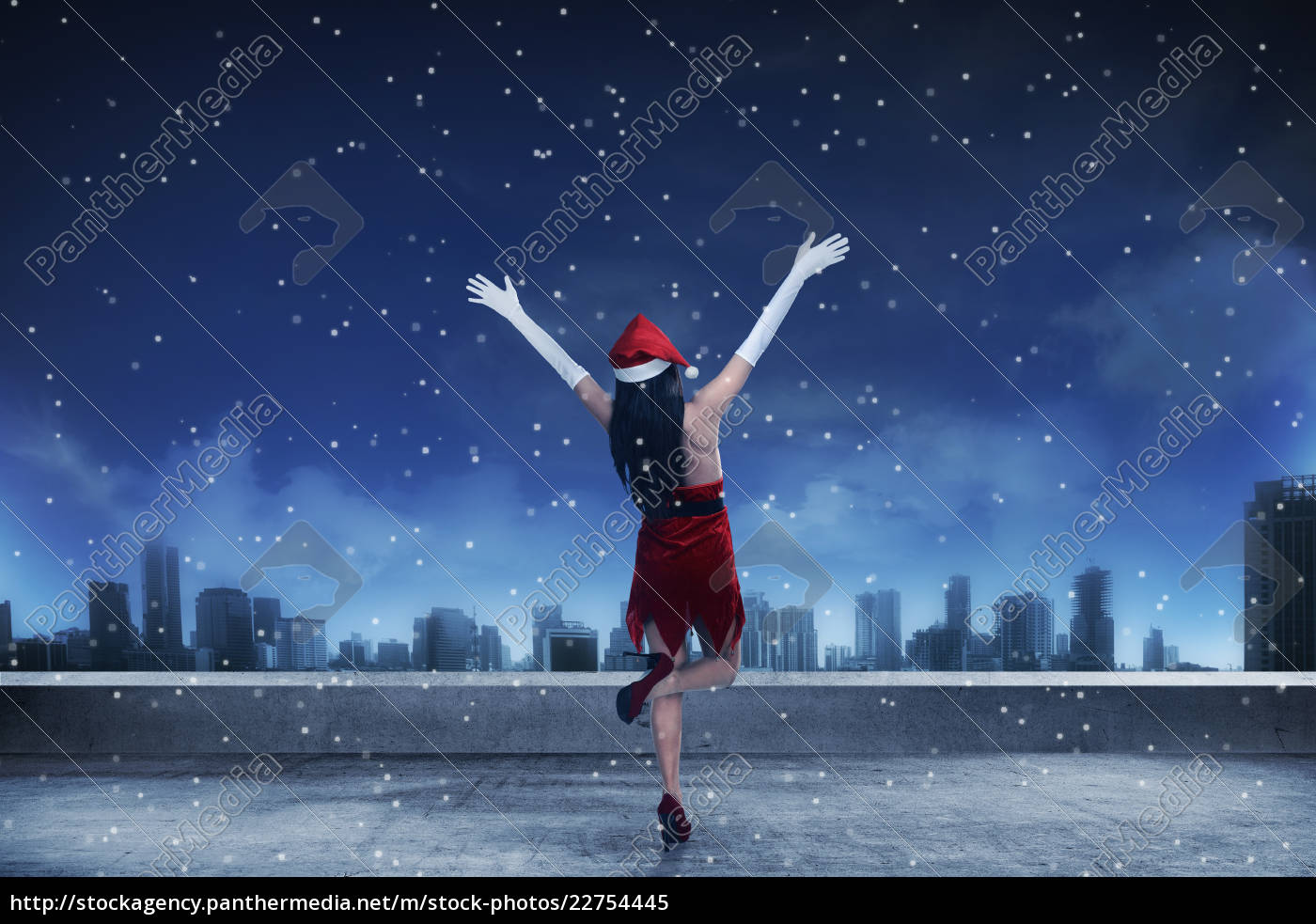 asian, woman, wearing, santa, claus, costume, - 22754445