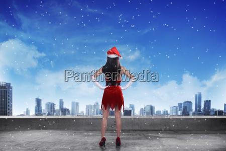 asian, woman, wearing, santa, claus, costume, - 22754537