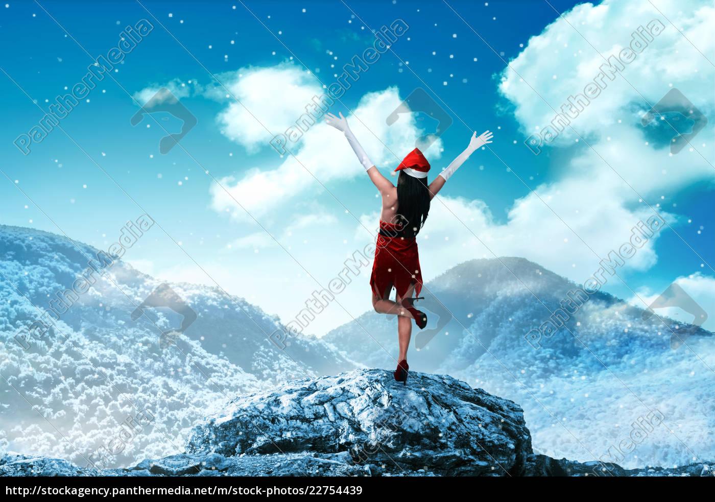 asian, woman, wearing, santa, claus, costume - 22754439