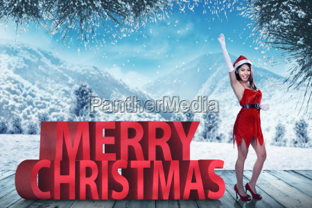 santa, claus, woman, standing, with, merry - 22754169