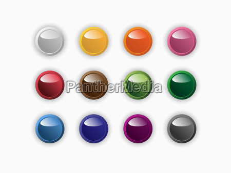 group of round buttons of different
