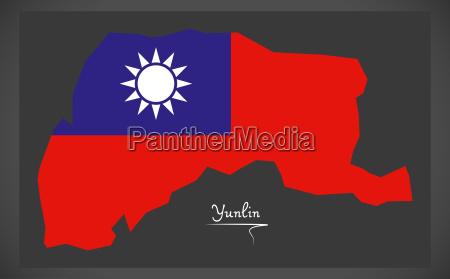 yunlin taiwan map with taiwanese national