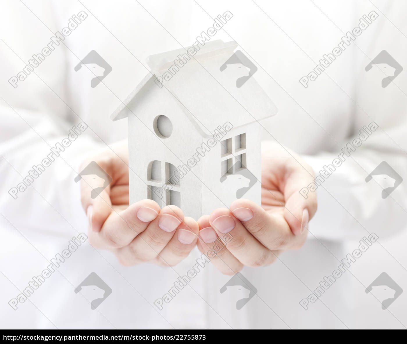 small, white, toy, house, in, hands - 22755873