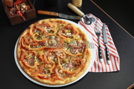 gourmet pizza with peppers