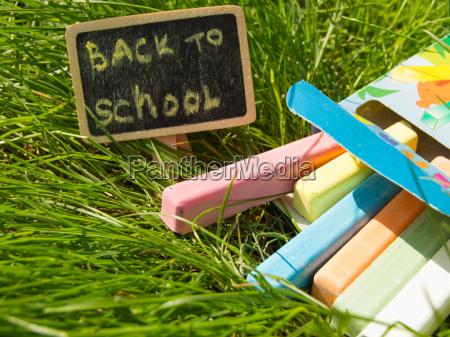 mini blackboard written back to school