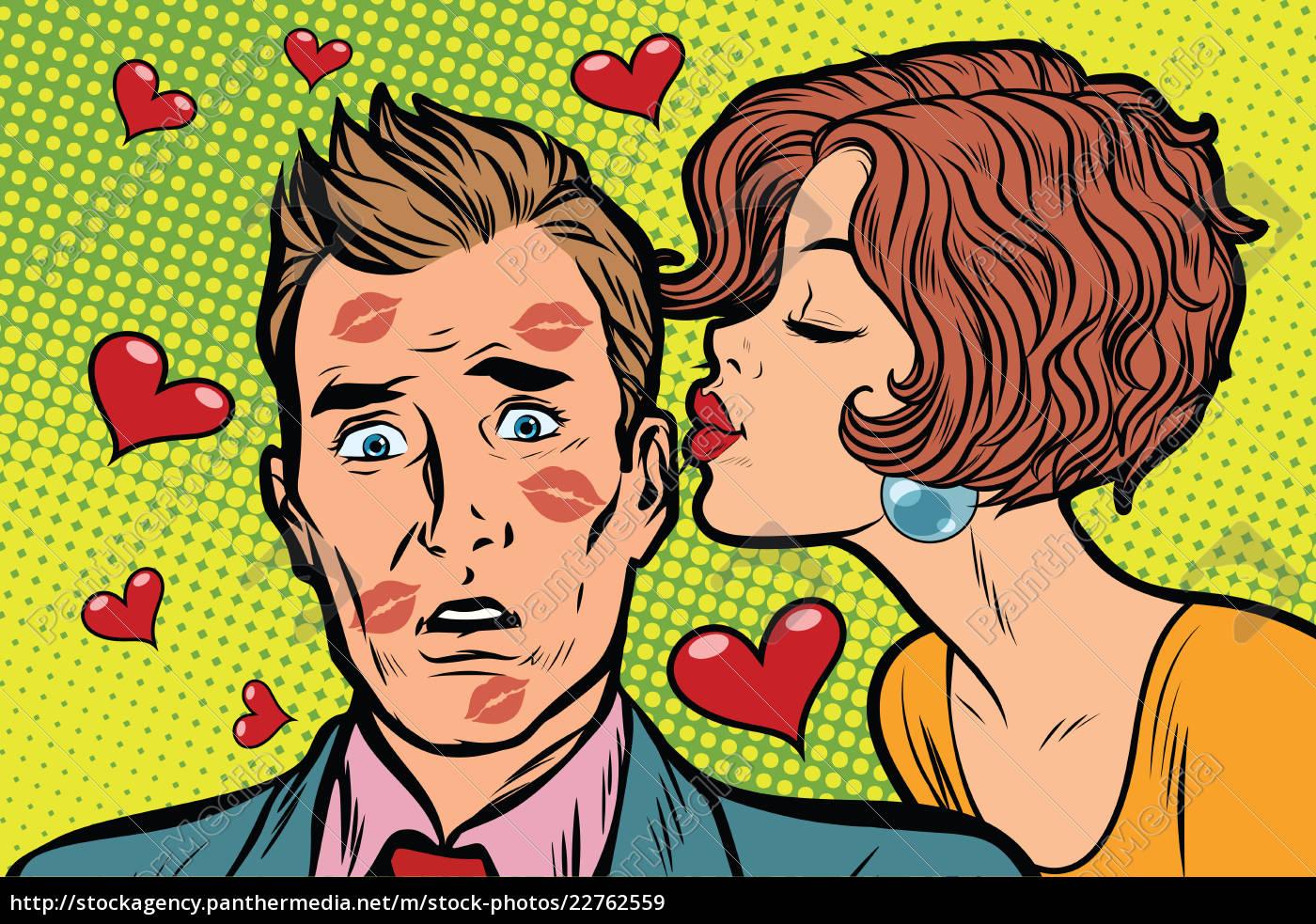 beautiful, woman, kissing, a, man, , trace - 22762559