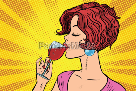 woman, drinking, red, wine - 22762557