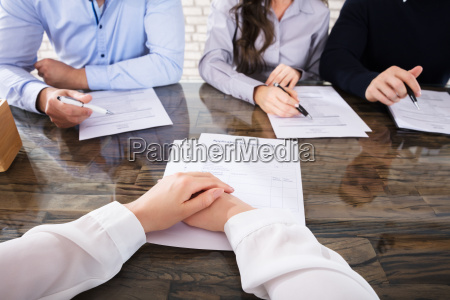 applicant in front of corporate recruitment