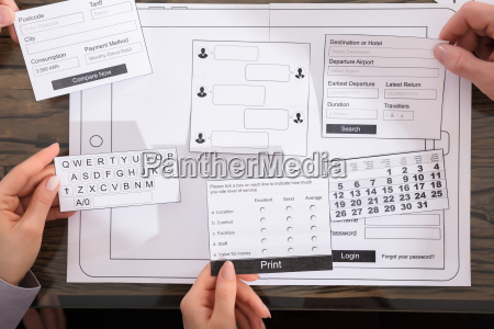 business people designing user interface for