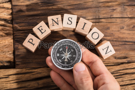 hand, holding, compass, on, pension, block - 22763779