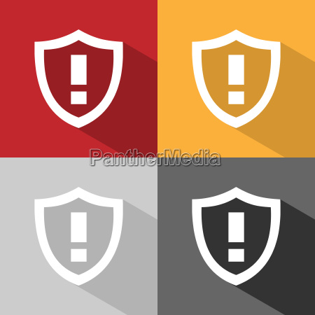 warning shield icon with shade on