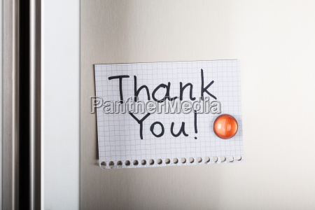 thank you note attached with orange