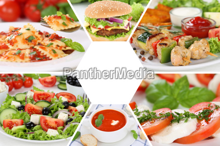 collection collage food dishes restaurant menu