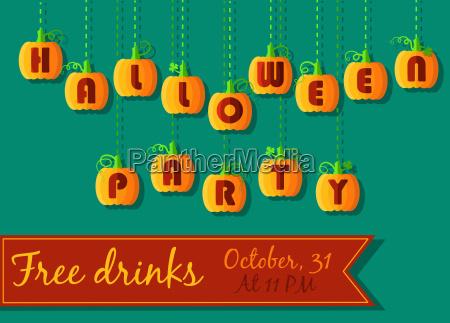 halloween party invitation funny pumpkin font