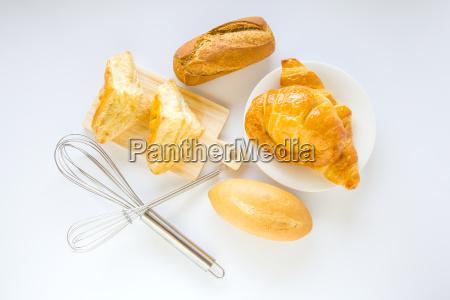 homemade breads or bun on white