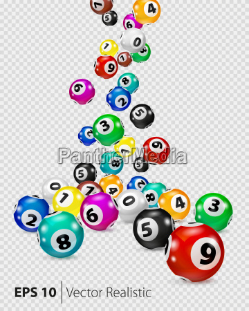 vector colorful bingo balls fall randomly