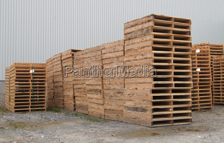 wood pallets stack shipping transport industry