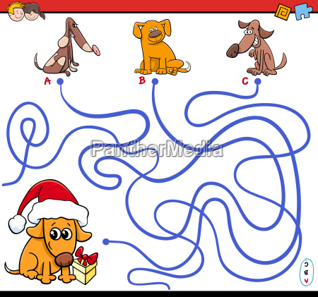 paths maze game with cartoon dogs