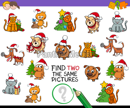 find identical pictures activity with xmas