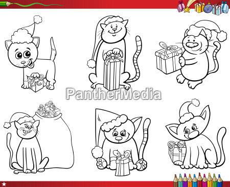 cats on christmas time set coloring