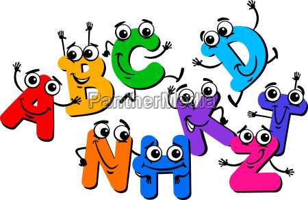 funny letter characters cartoon illustration