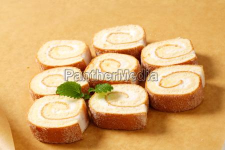 slices of cream swiss roll