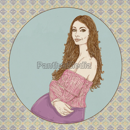 pregnant woman with pink sweater and