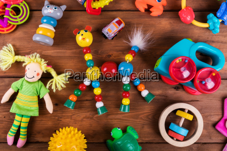 group of colorful baby toys on