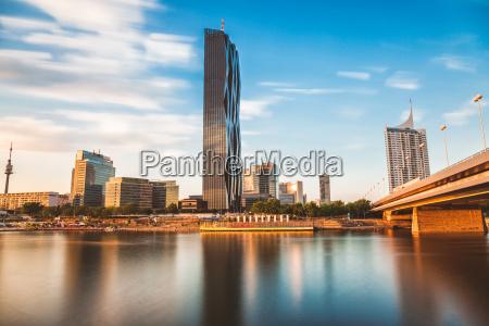 vienna skyline on the danube river