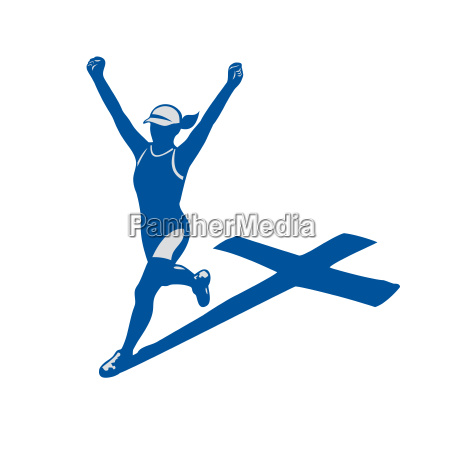 female marathon runner cross shadow