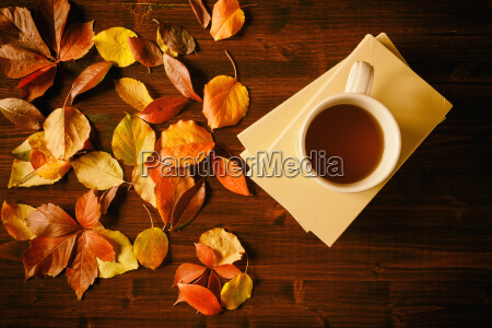 cup of tea books and autumnal