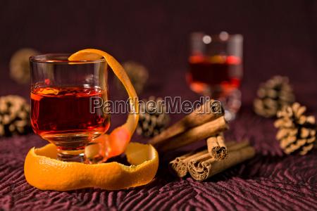alcoholic punch drink with orange peel
