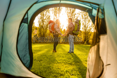 young couple camping