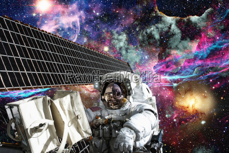 international space station and astronaut in
