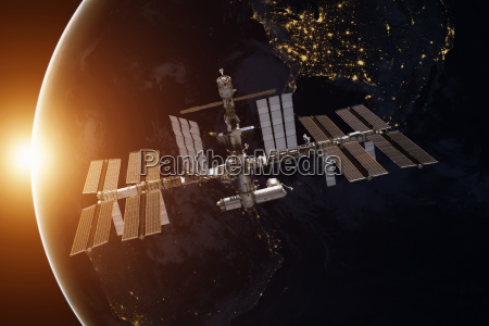 international space station over the planet