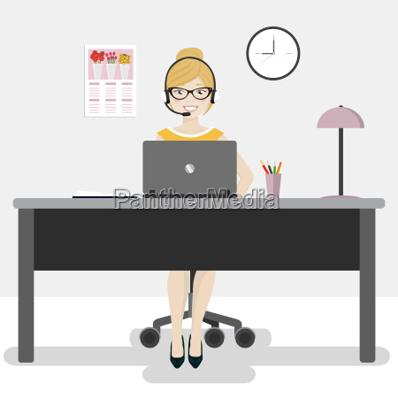 female office worker with laptop and