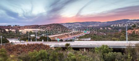 highway in irvine california at sunset