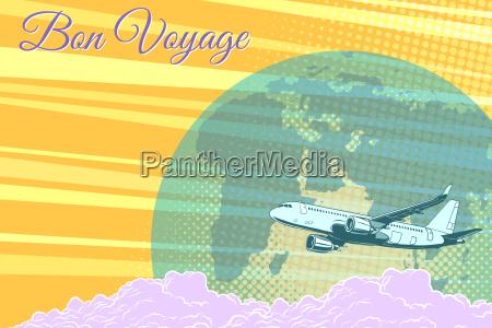 plane flight travel tourism retro background