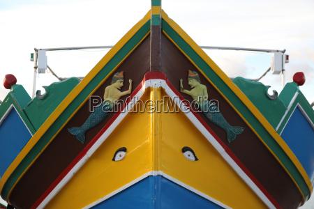 bow of maltese luzzu boat
